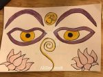 Colored Sumi Ink: Eyes of Buddha