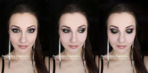 Hot Glam - Glittery Greens and Smokey Pink Makeup by psychoren