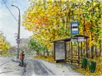 Autumn (street, worker, bus stop) by Vokabre
