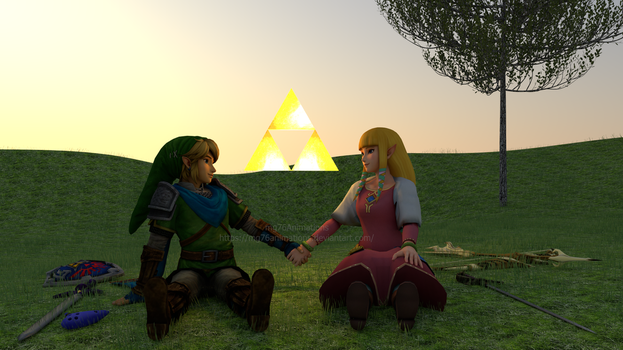 Link (HW) and Zelda ( Skyward Sword) by mg76Animations