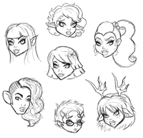 MH OC Fanart Head Sketches#5 by teddy-beard