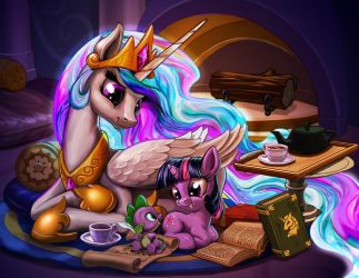Reading by Celestia's Light by harwicks-art