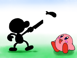 Kirby and Mr game and watch by Alvro