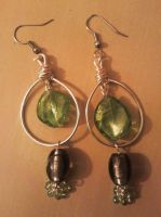 green and gray glass beads earrings by syn-O-nyms