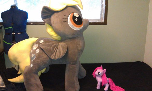 Derpy compared to normal sized plush by sockfuzzy