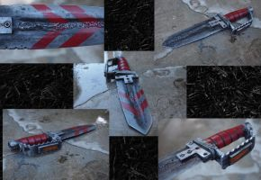 Double Knife, Post Apocalyptic Bike Pedal Guard by KillingjarStudios