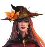 Seasonal witch - Autumn || with painting process by fcnjt