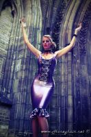 Shiny Latex Between Gothic Walls I. by Honeyhair