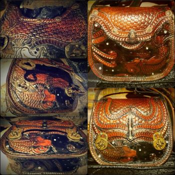 Hand tooled leather satchel. by BadLukArt