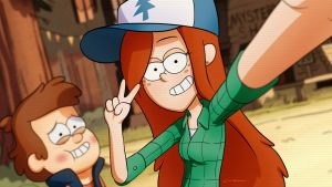 Trying on Dipper's hat  by point23
