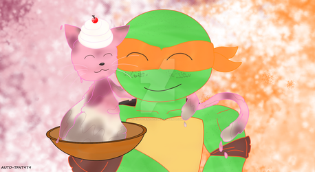 TMNT 2k12/17: Mikey And Ice Cream Kitty by AutoTFNT979