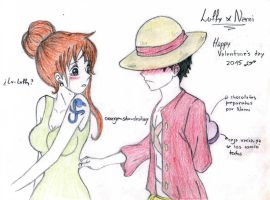 Luffy x Nami Valentine's day by orange-star-destiny