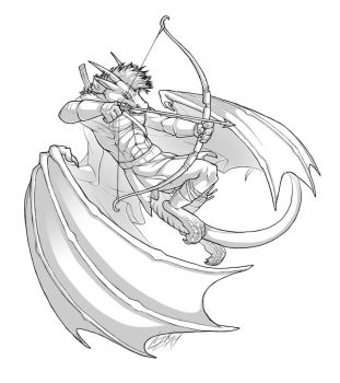Dragon Archer - sketch commission by Lizkay
