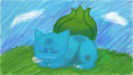Sleepin' Bulbasaur by skullkid3