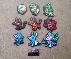 Gen VII Starters - Pokemon Perler Bead Sprites by MaddogsCreations