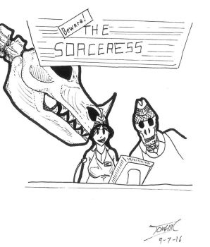 Beware! The Sorceress! Sketch Cover by kat352234