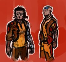 Male Scifi Character Doodles by RougeSpark
