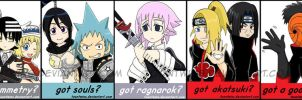 Got Badges -- Soul Eater and Naruto by ToonTwins