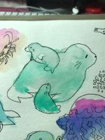 Watercolor seal family  by aruva-chan