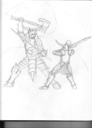 Demon vs Knight Sketch by Saevus