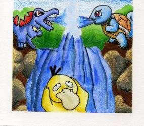 Squirtle, Psyduck, Tododile by Yamina20