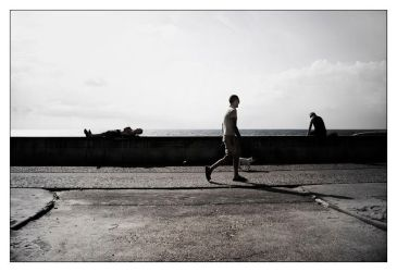 Man with dog, walking by McFossey