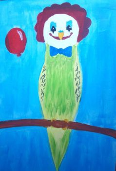 Creepy clown budgie by TaitGallery
