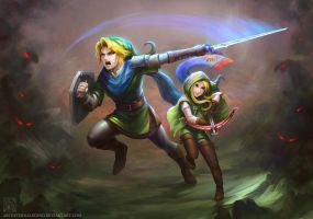 LoZ - Sibling Teamwork by EternaLegend