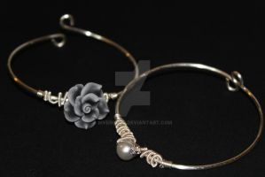 Stacking Pearl and Gray Flower Bangles by RiverGold