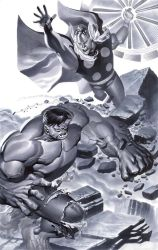 Hulk battles Thor by ChristopherStevens