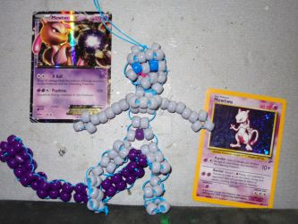 Bead Art: Blue-Eyed Mewtwo by SpellboundFox
