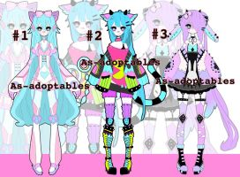 Pastel/neon Kemonommi adoptables CLOSED by AS-Adoptables