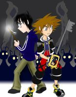 Sora and Harry in Battle by Disneyfreak007