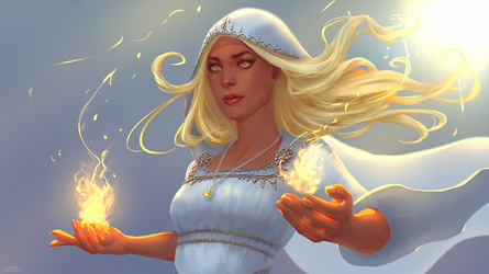 Commission: Priestess of the Light by Leventart