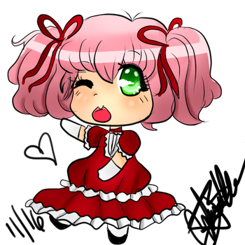 Chibi girl I drew COLORED by Animeturtlecakes98