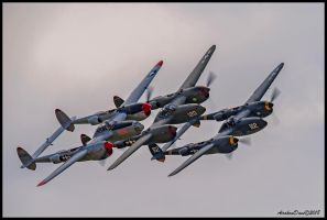 P-38s Three Lightnings by AirshowDave