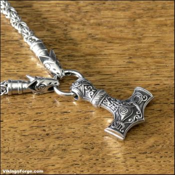 Viking Royalty Necklace with Larger Mjolnir by GoodSpiritWolf
