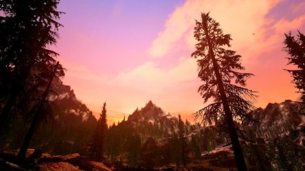 Screenshot - Skyrim sunset at the mountain by Jacks-Gaming-Room