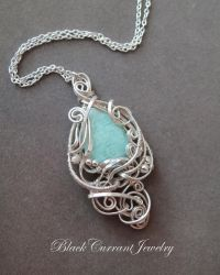 Blue-Green Amazonite with Bright Silver by blackcurrantjewelry