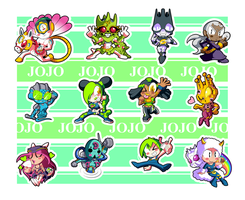 Jojo Part 6 Chibis by BLARGEN69
