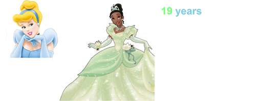 Cinderella  and Tiana ages by SaraLauren