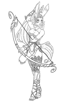 Commission - Fran from FF12 - Line Art by TouchedVenus