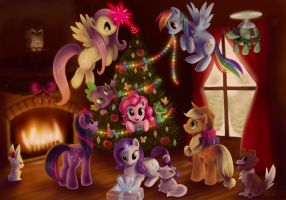 My Little Pony FiM - Happy Holidays by LaurenMagpie