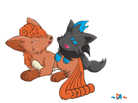 Vulpix + Zorua- Gift for Zora by Gothica-the-Eevee
