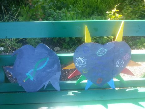Wooden fierce deity and majoras mask (back) by thegogomaster99