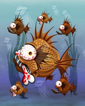 Psycho Fish Piranha with Bloody Bone by Bluedarkat