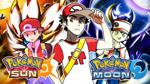Pokemon! Red(Red AND Blue-Sun AND Moon) Wallpaper by MattPlaysVG