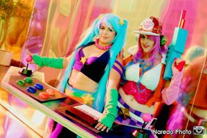 Arcade Sona and Arcade Miss Fortune by rocknroler