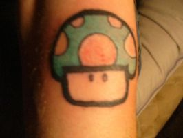 1 up tattoo close up by ravercandy