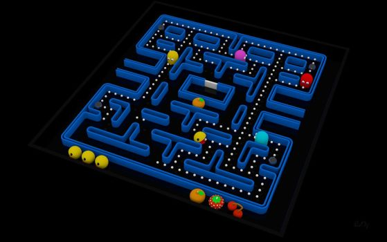 Pacman Fever 3D Wallpaper 2 in UHD (For Desktops) by PixelOz